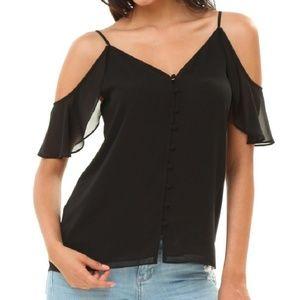 Black Cold shoulder button up top